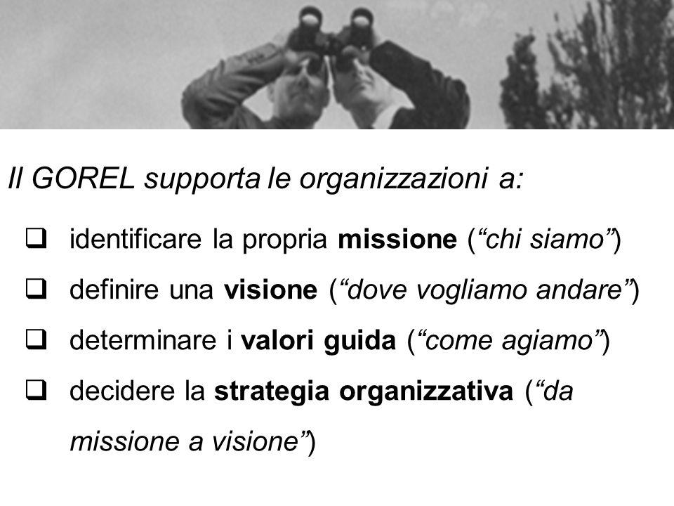 Il GOREL supporta le organizzazioni a: identificare la propria missione (chi siamo) definire una visione (dove vogliamo andare) determinare i valori g