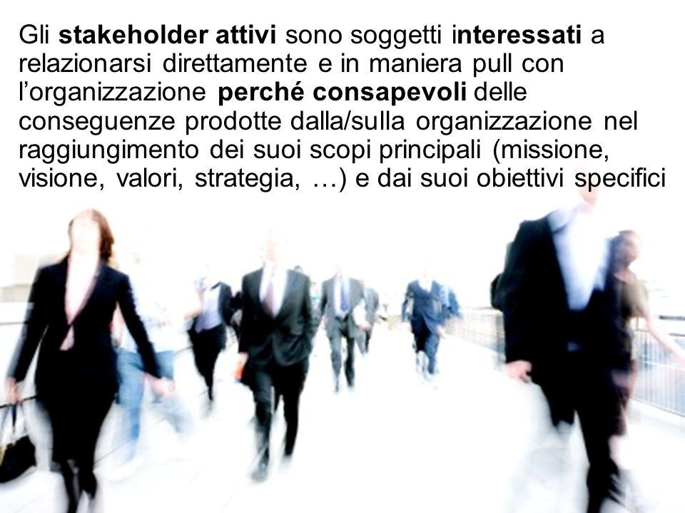 Gli stakeholder attivi sono soggetti interessati a relazionarsi direttamente e in maniera pull con lorganizzazione perché consapevoli delle conseguenz