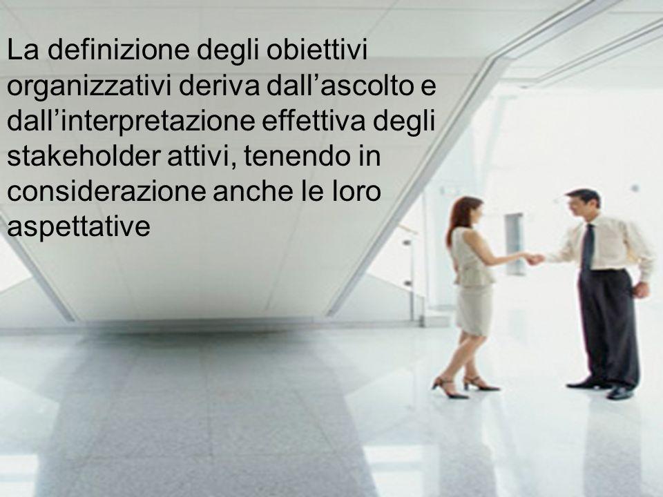 La definizione degli obiettivi organizzativi deriva dallascolto e dallinterpretazione effettiva degli stakeholder attivi, tenendo in considerazione an