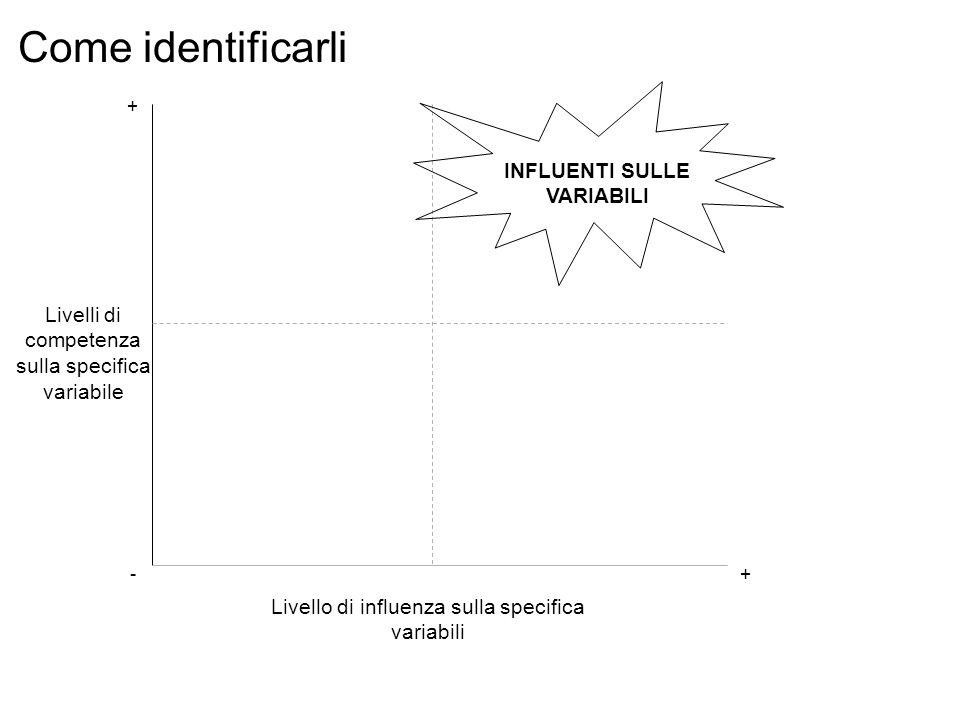 Livello di influenza sulla specifica variabili Livelli di competenza sulla specifica variabile INFLUENTI SULLE VARIABILI -+ + Come identificarli