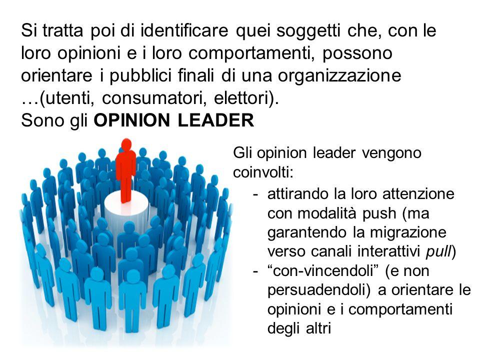 Si tratta poi di identificare quei soggetti che, con le loro opinioni e i loro comportamenti, possono orientare i pubblici finali di una organizzazion