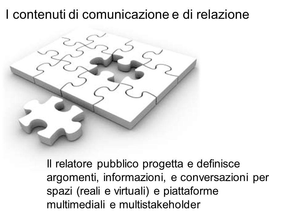 Il relatore pubblico progetta e definisce argomenti, informazioni, e conversazioni per spazi (reali e virtuali) e piattaforme multimediali e multistak