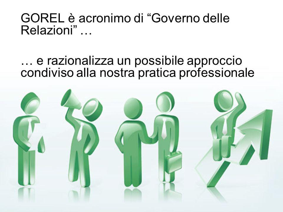 GOREL è acronimo di Governo delle Relazioni … … e razionalizza un possibile approccio condiviso alla nostra pratica professionale