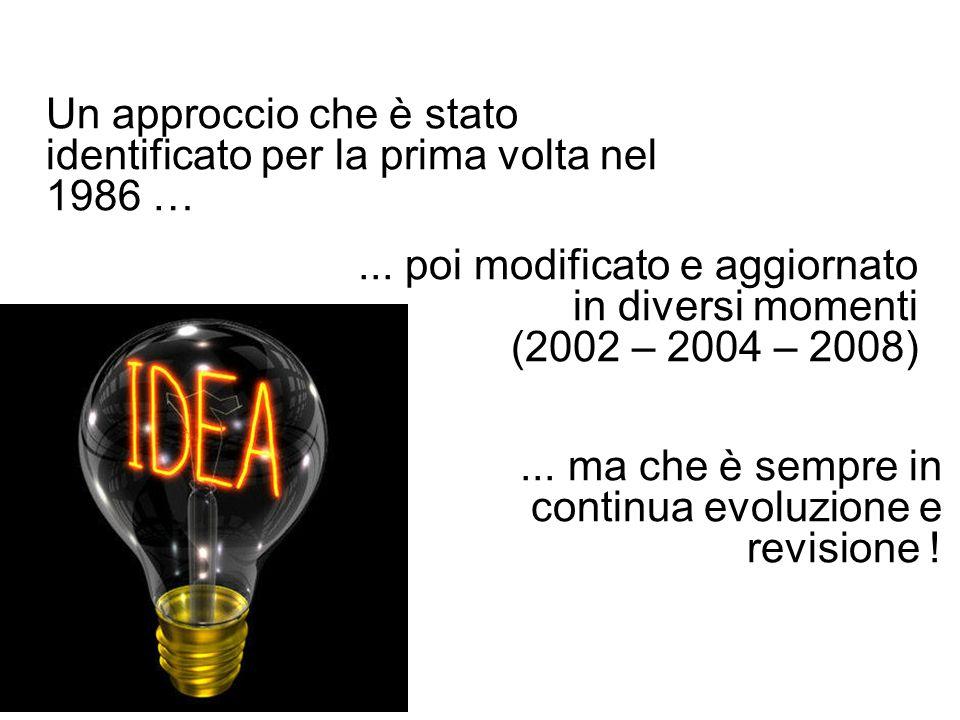 Un approccio che è stato identificato per la prima volta nel 1986 …... poi modificato e aggiornato in diversi momenti (2002 – 2004 – 2008)... ma che è