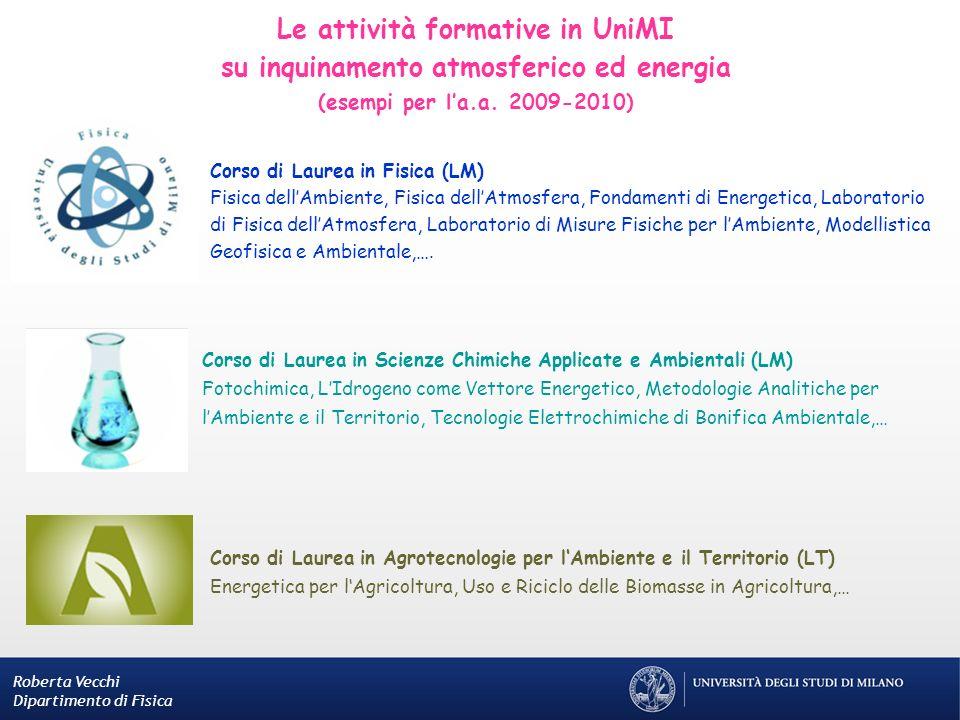 Le attività formative in UniMI su inquinamento atmosferico ed energia (esempi per la.a. 2009-2010) Roberta Vecchi Dipartimento di Fisica Corso di Laur