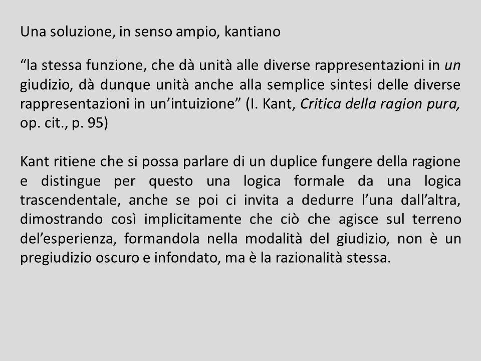 Una soluzione, in senso ampio, kantiano la stessa funzione, che dà unità alle diverse rappresentazioni in un giudizio, dà dunque unità anche alla semplice sintesi delle diverse rappresentazioni in unintuizione (I.