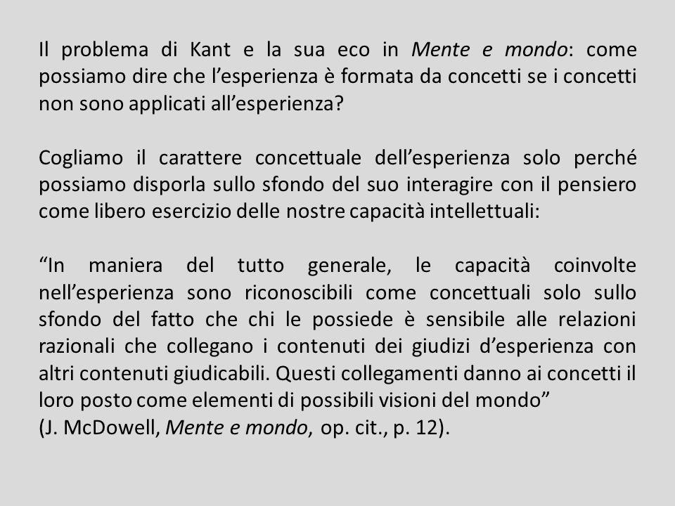 Il problema di Kant e la sua eco in Mente e mondo: come possiamo dire che lesperienza è formata da concetti se i concetti non sono applicati allesperienza.