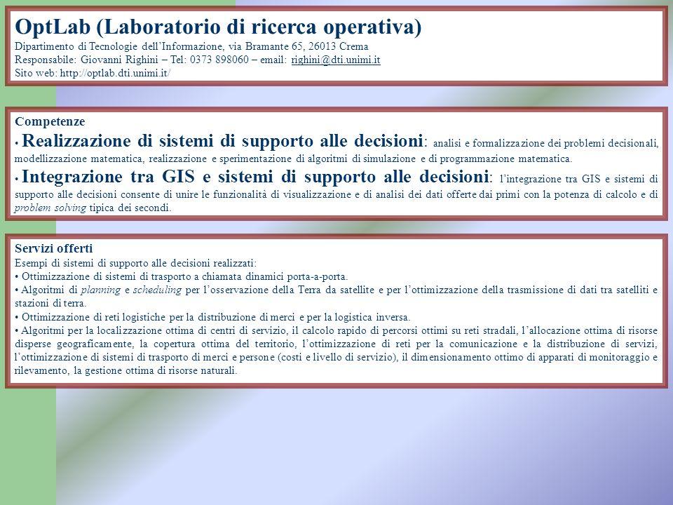 OptLab (Laboratorio di ricerca operativa) Dipartimento di Tecnologie dellInformazione, via Bramante 65, 26013 Crema Responsabile: Giovanni Righini – T