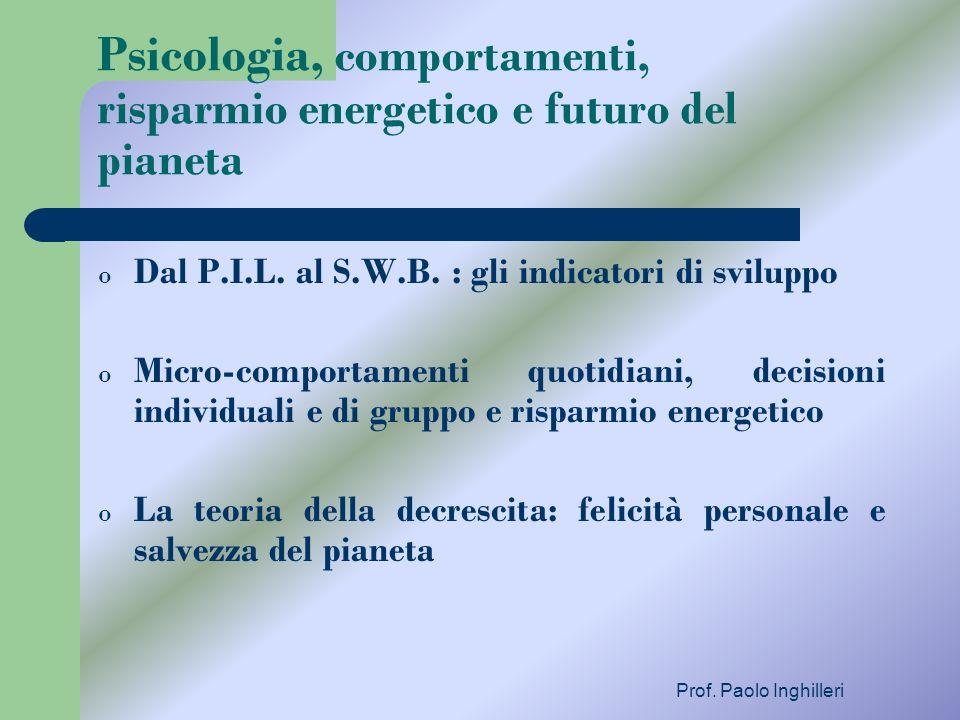 Psicologia, comportamenti, risparmio energetico e futuro del pianeta o Dal P.I.L. al S.W.B. : gli indicatori di sviluppo o Micro-comportamenti quotidi