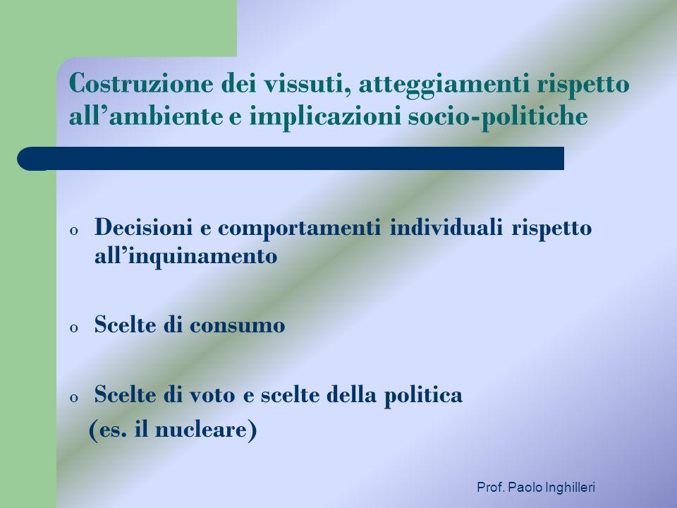 Prof. Paolo Inghilleri Costruzione dei vissuti, atteggiamenti rispetto allambiente e implicazioni socio-politiche o Decisioni e comportamenti individu