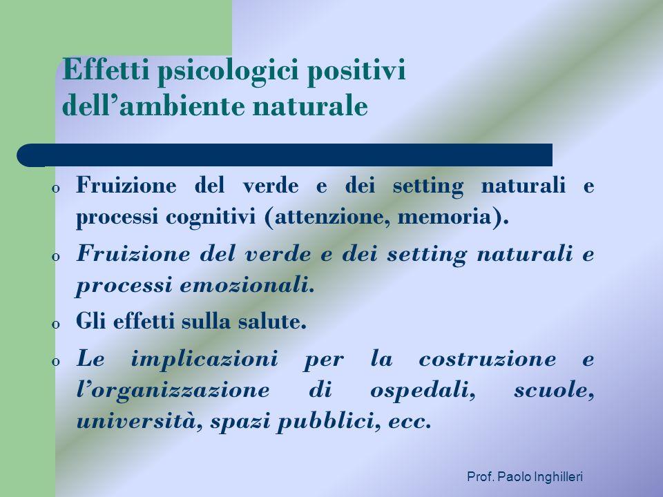 Prof. Paolo Inghilleri Effetti psicologici positivi dellambiente naturale o Fruizione del verde e dei setting naturali e processi cognitivi (attenzion