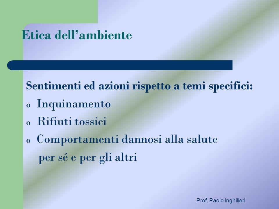 Prof. Paolo Inghilleri Etica dellambiente Sentimenti ed azioni rispetto a temi specifici: o Inquinamento o Rifiuti tossici o Comportamenti dannosi all