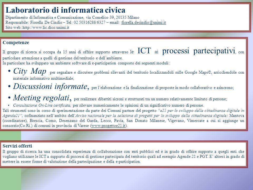 Laboratorio di informatica musicale Dipartimento di Informatica e Comunicazione, via Comelico 39-41, 20135 Milano Responsabili: Goffredo Haus e Giancarlo Vercellesi – Tel: 02 50316222 - 16382 - email: goffredo.haus@unimi.itgoffredo.haus@unimi.it Sito web: http://www.lim.dico.unimi.it Competenze Il laboratorio di Informatica Musicale può fornire il proprio contributo e la propria conoscenza nel contesto dell inquinamento acustico in merito ai seguenti punti: Studio dellimpatto dovuto a inquinamento acustico e relative strategie per la sua riduzione nel contesto audio-musicale e audio-visivo.