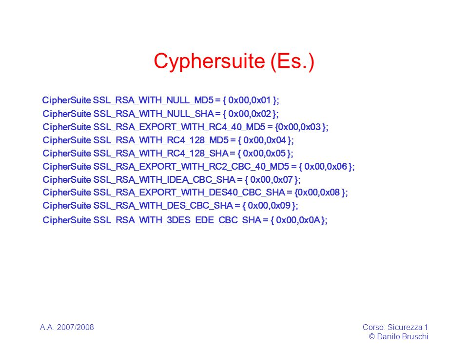 A.A. 2007/2008Corso: Sicurezza 1 © Danilo Bruschi Cyphersuite (Es.) CipherSuite SSL_RSA_WITH_NULL_MD5 = { 0x00,0x01 }; CipherSuite SSL_RSA_WITH_NULL_S