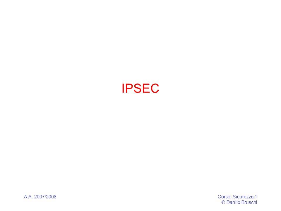 A.A. 2007/2008Corso: Sicurezza 1 © Danilo Bruschi IPSEC
