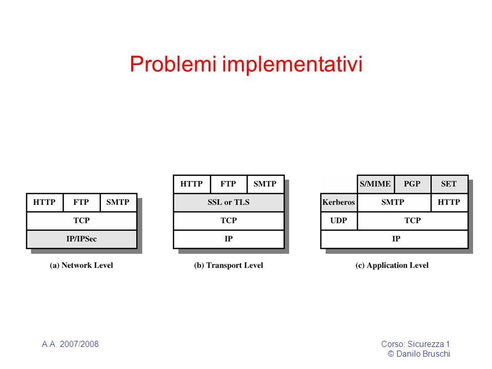 A.A. 2007/2008Corso: Sicurezza 1 © Danilo Bruschi Problemi implementativi
