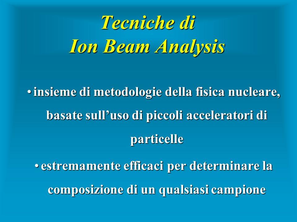 Tecniche di Ion Beam Analysis insieme di metodologie della fisica nucleare, basate sulluso di piccoli acceleratori di particelleinsieme di metodologie