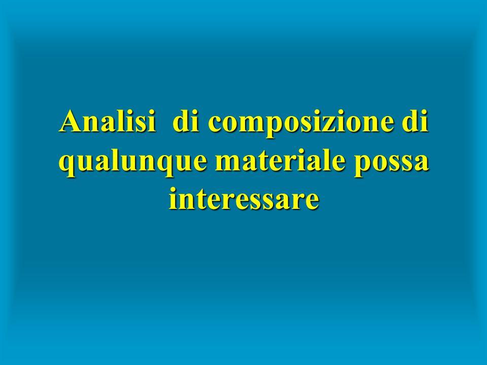 Analisi di composizione di qualunque materiale possa interessare