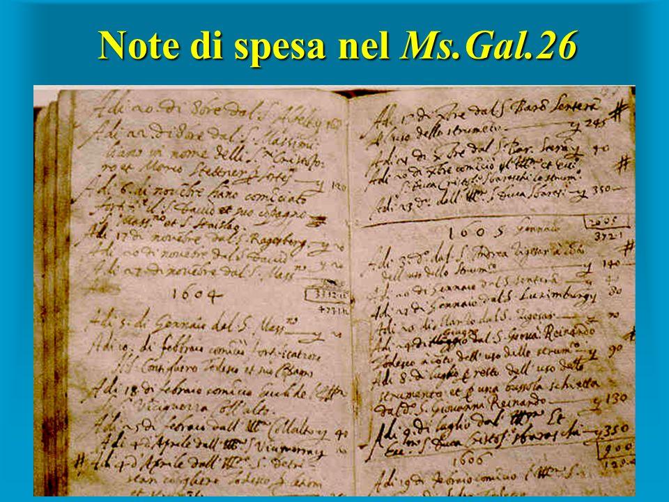 Note di spesa nel Ms.Gal.26