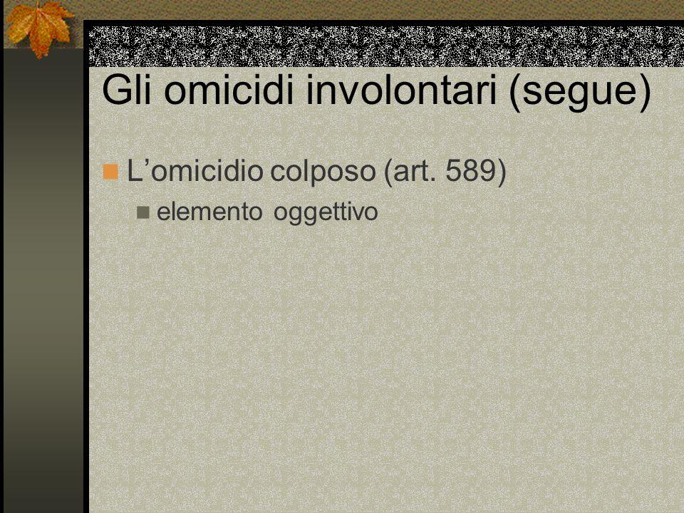 Gli omicidi involontari (segue) Lomicidio colposo (art. 589) elemento oggettivo