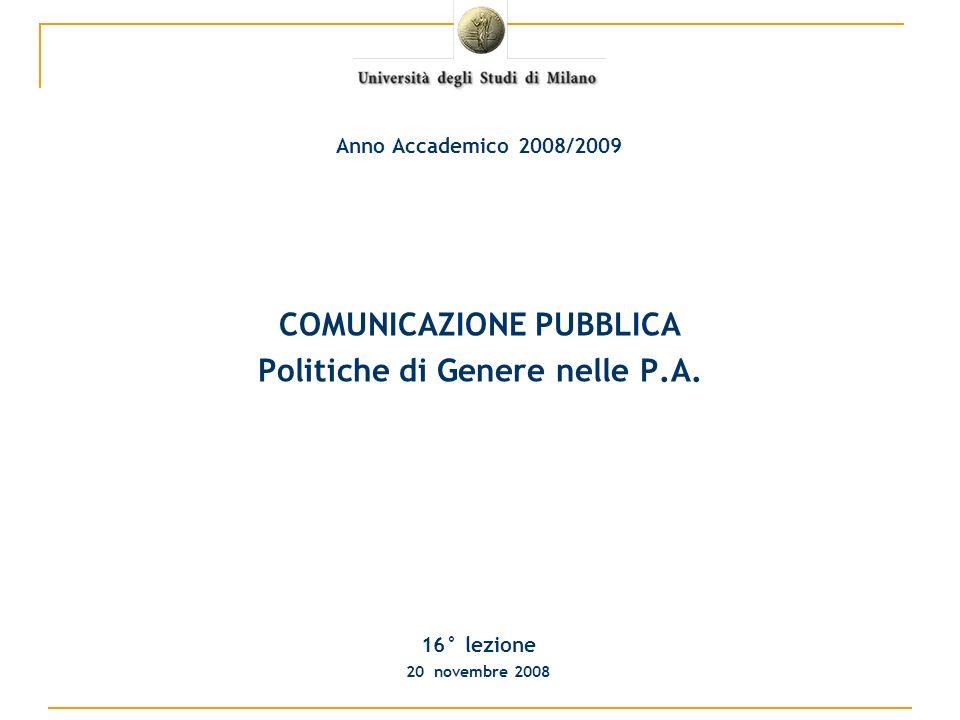 COMUNICAZIONE PUBBLICA Politiche di Genere nelle P.A.
