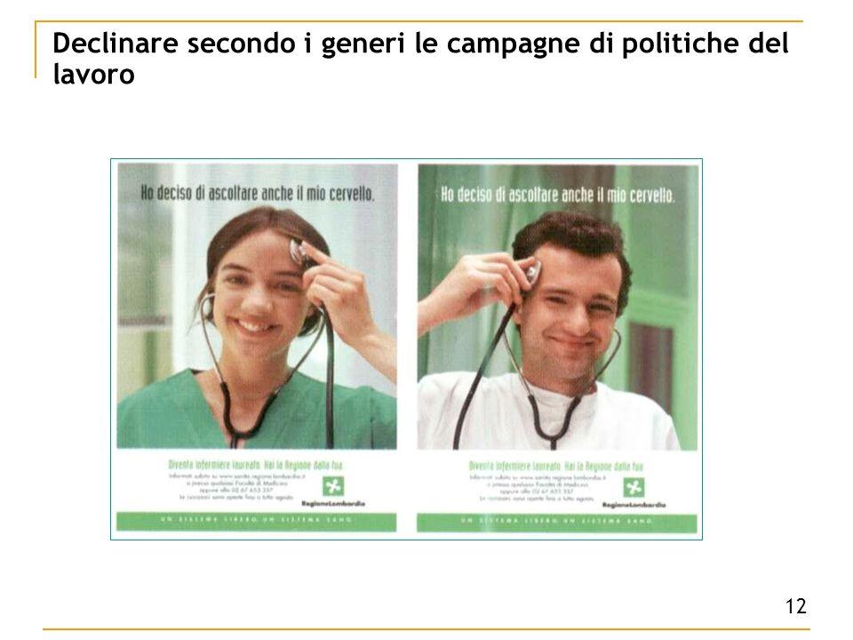 12 Declinare secondo i generi le campagne di politiche del lavoro