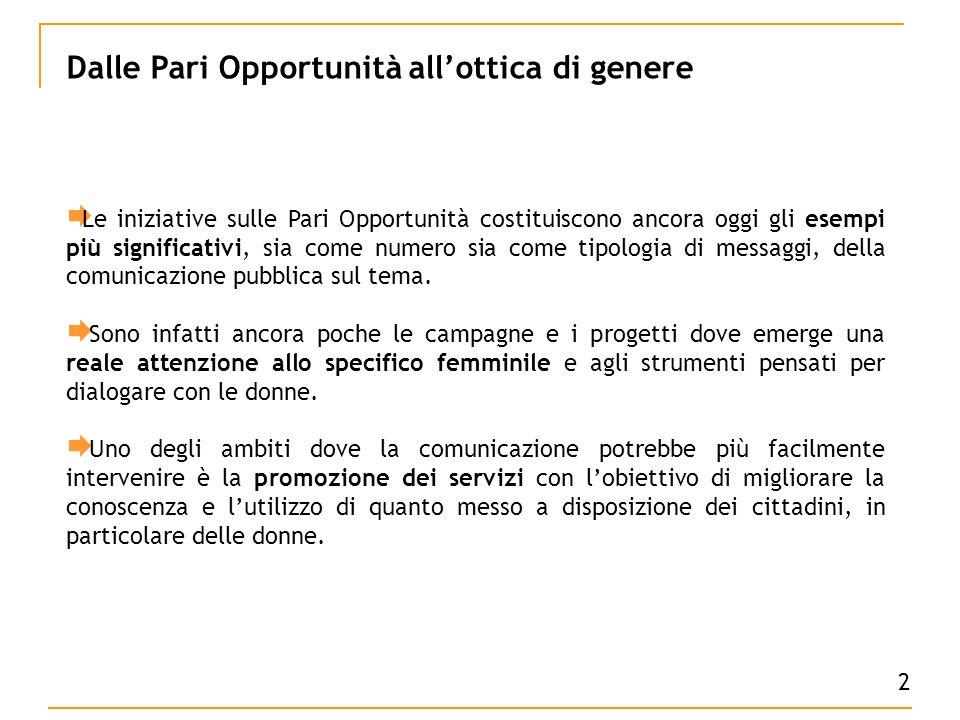 Le iniziative sulle Pari Opportunità costituiscono ancora oggi gli esempi più significativi, sia come numero sia come tipologia di messaggi, della comunicazione pubblica sul tema.