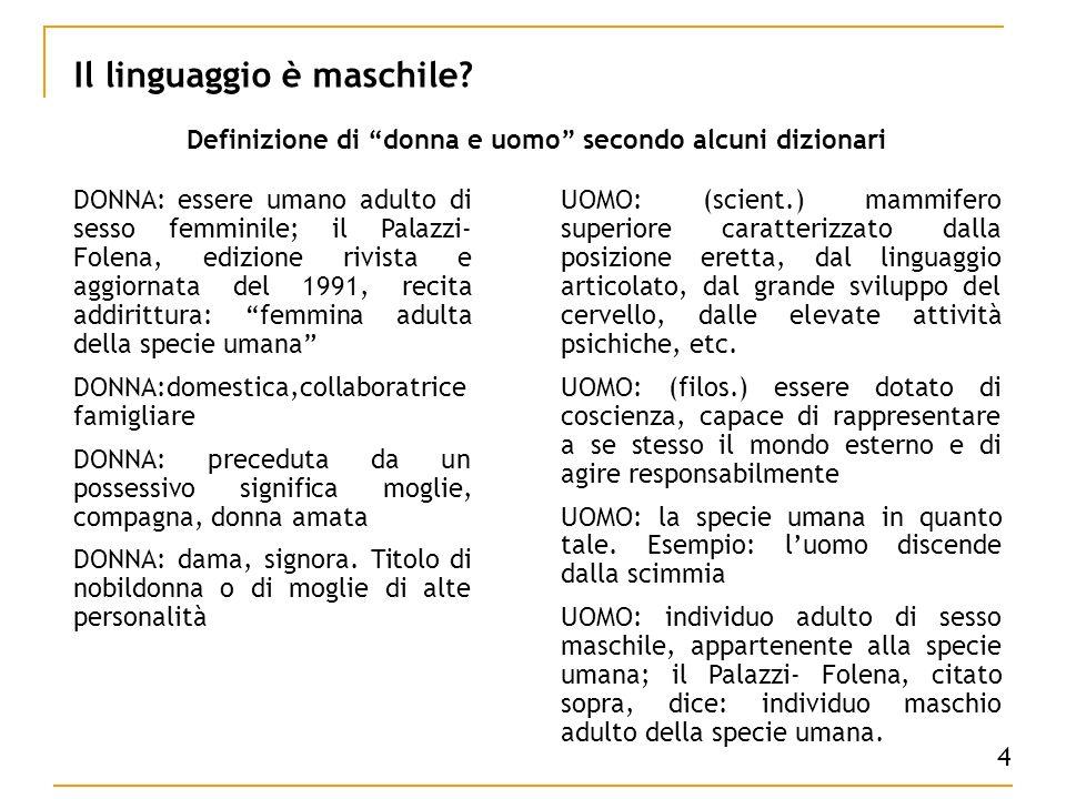 4 Il linguaggio è maschile.