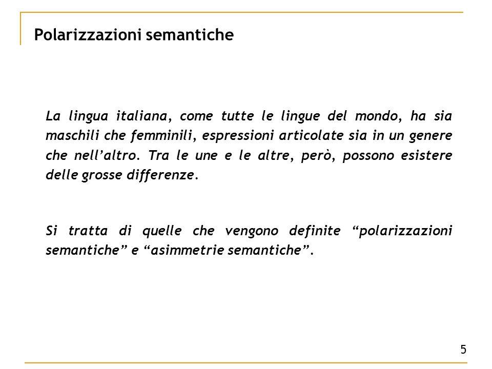5 Polarizzazioni semantiche La lingua italiana, come tutte le lingue del mondo, ha sia maschili che femminili, espressioni articolate sia in un genere che nellaltro.