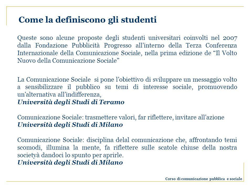 Queste sono alcune proposte degli studenti universitari coinvolti nel 2007 dalla Fondazione Pubblicità Progresso allinterno della Terza Conferenza Int