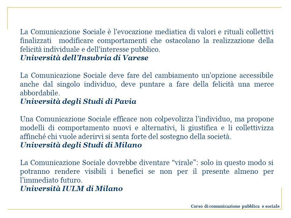 La Comunicazione Sociale è l'evocazione mediatica di valori e rituali collettivi finalizzati modificare comportamenti che ostacolano la realizzazione