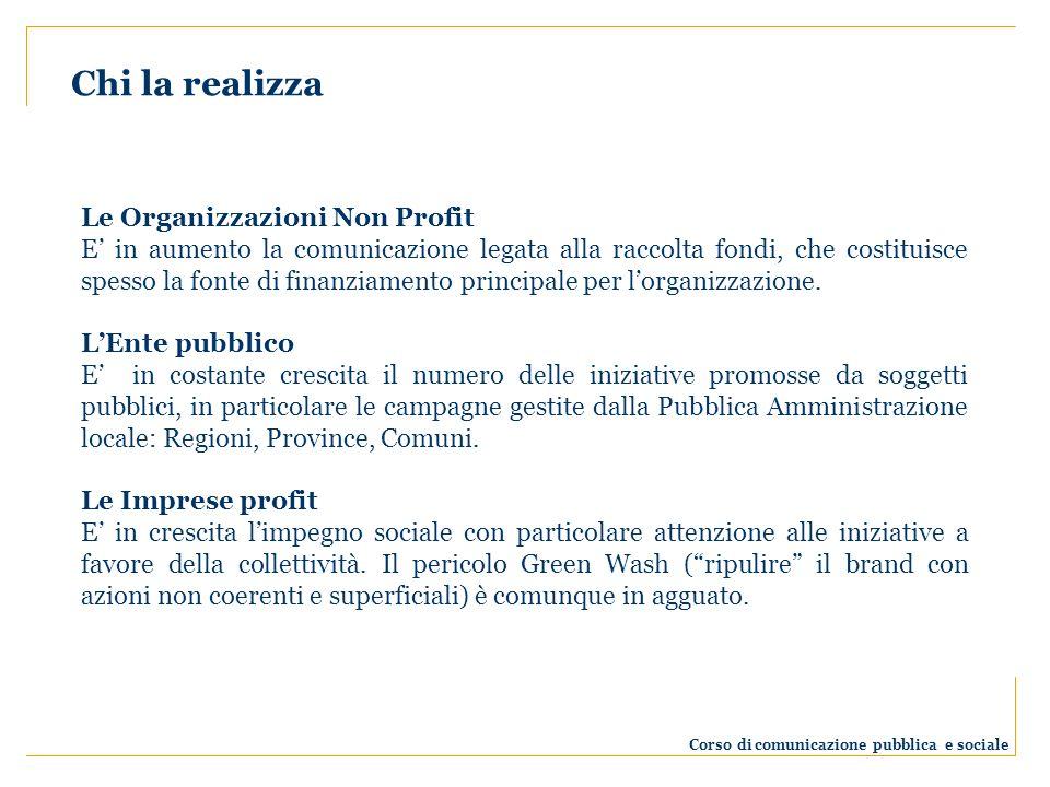 Le Organizzazioni Non Profit E in aumento la comunicazione legata alla raccolta fondi, che costituisce spesso la fonte di finanziamento principale per lorganizzazione.