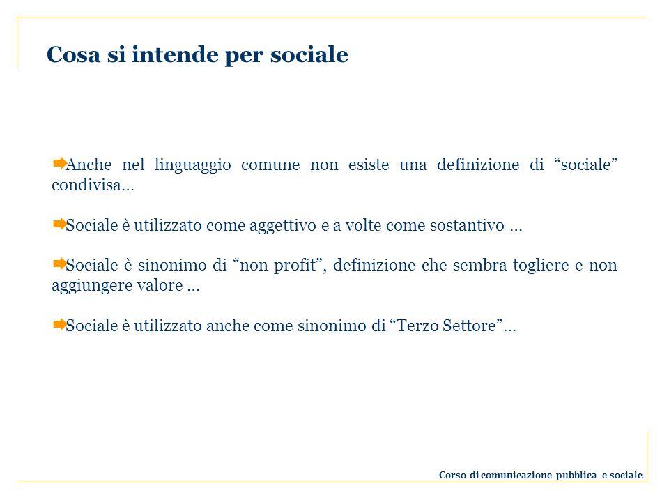Anche nel linguaggio comune non esiste una definizione di sociale condivisa… Sociale è utilizzato come aggettivo e a volte come sostantivo … Sociale è