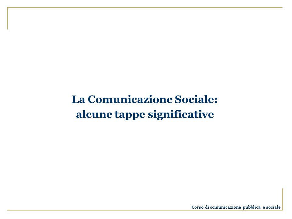 La Comunicazione Sociale: alcune tappe significative Corso di comunicazione pubblica e sociale