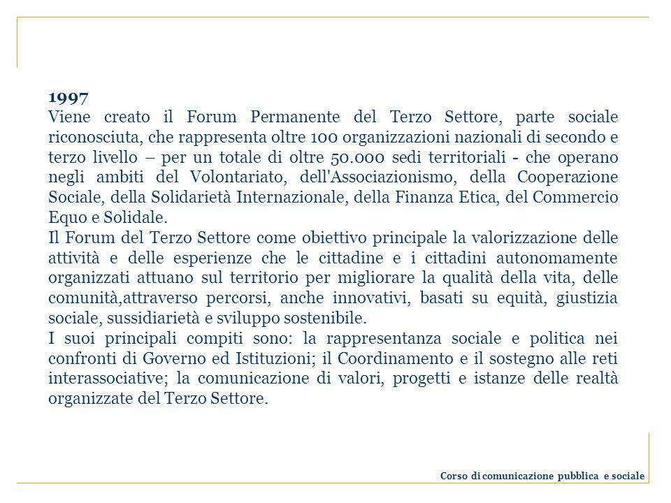 1997 Viene creato il Forum Permanente del Terzo Settore, parte sociale riconosciuta, che rappresenta oltre 100 organizzazioni nazionali di secondo e terzo livello – per un totale di oltre 50.000 sedi territoriali - che operano negli ambiti del Volontariato, dell Associazionismo, della Cooperazione Sociale, della Solidarietà Internazionale, della Finanza Etica, del Commercio Equo e Solidale.