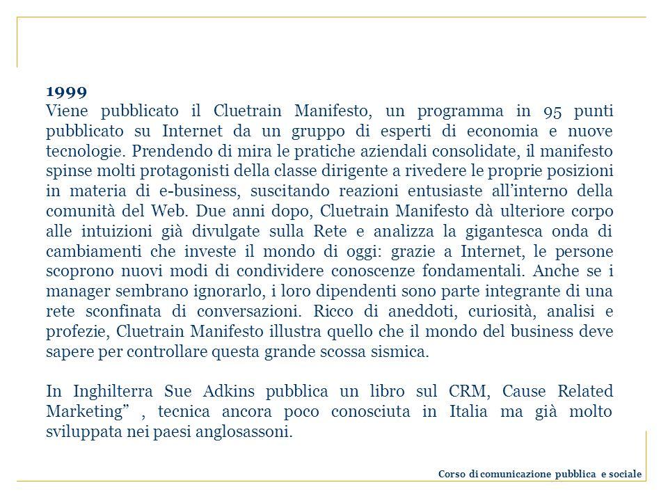 1999 Viene pubblicato il Cluetrain Manifesto, un programma in 95 punti pubblicato su Internet da un gruppo di esperti di economia e nuove tecnologie.