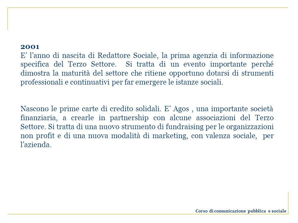 2001 E lanno di nascita di Redattore Sociale, la prima agenzia di informazione specifica del Terzo Settore. Si tratta di un evento importante perché d