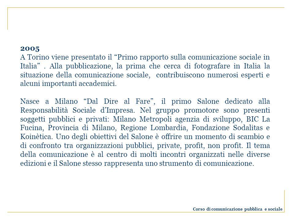2005 A Torino viene presentato il Primo rapporto sulla comunicazione sociale in Italia. Alla pubblicazione, la prima che cerca di fotografare in Itali