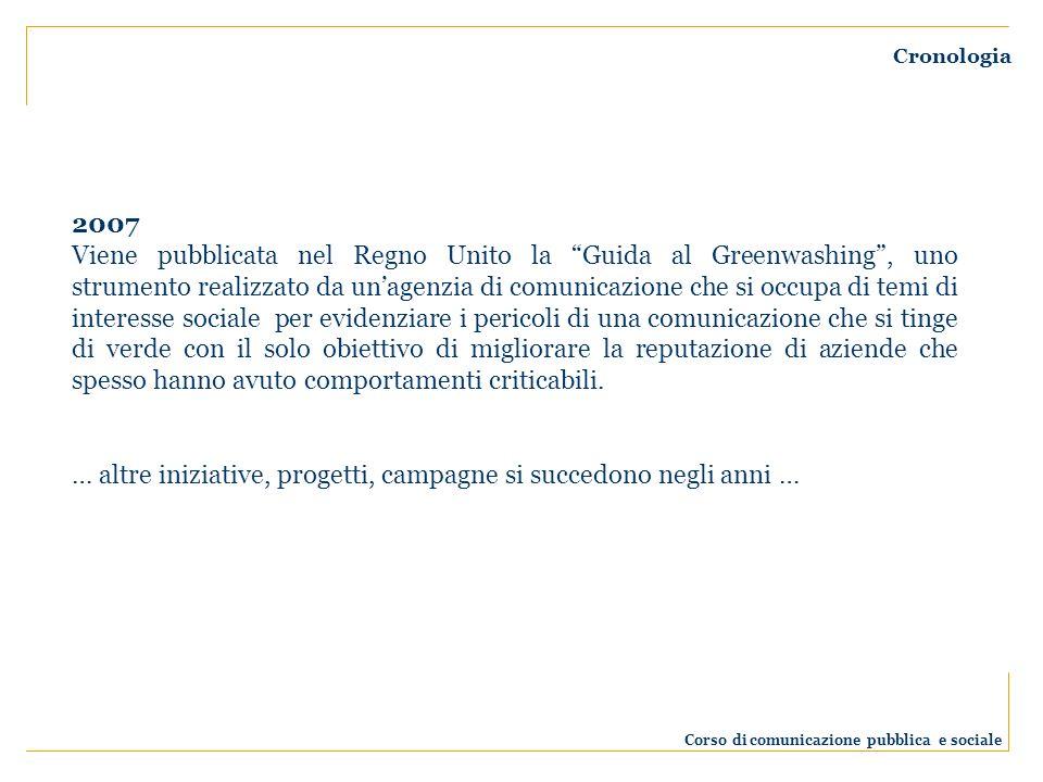 Cronologia 2007 Viene pubblicata nel Regno Unito la Guida al Greenwashing, uno strumento realizzato da unagenzia di comunicazione che si occupa di tem
