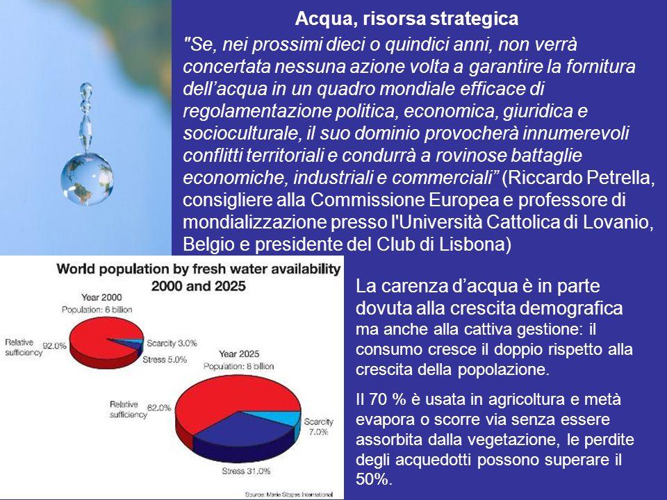 Rapporto quantità-qualità Oltre agli aspetti quantitativi la tutela delle risorse idriche riguarda anche la qualità.
