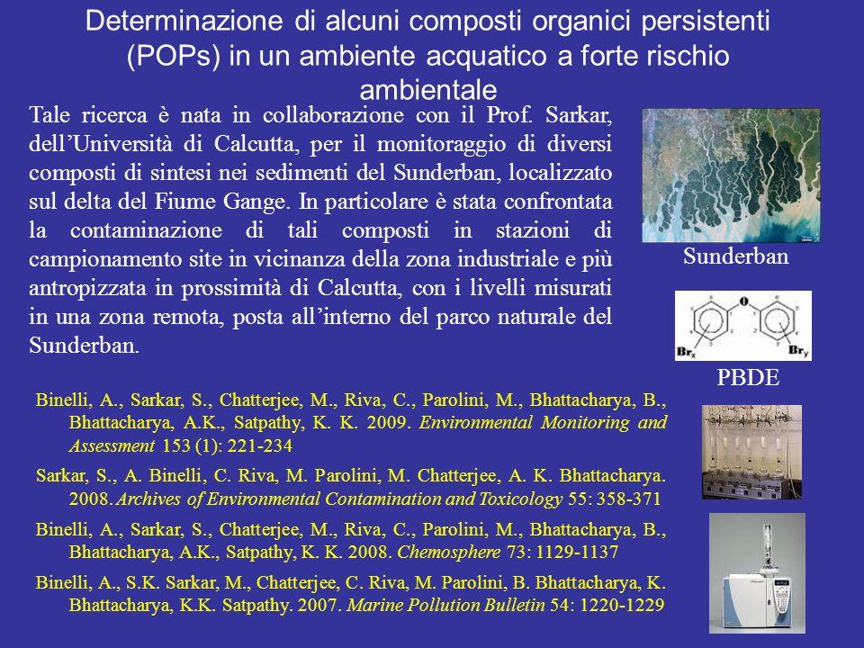 Determinazione di alcuni composti organici persistenti (POPs) in un ambiente acquatico a forte rischio ambientale Tale ricerca è nata in collaborazione con il Prof.