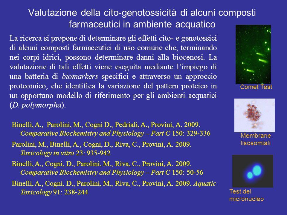 Valutazione della cito-genotossicità di alcuni composti farmaceutici in ambiente acquatico La ricerca si propone di determinare gli effetti cito- e genotossici di alcuni composti farmaceutici di uso comune che, terminando nei corpi idrici, possono determinare danni alla biocenosi.