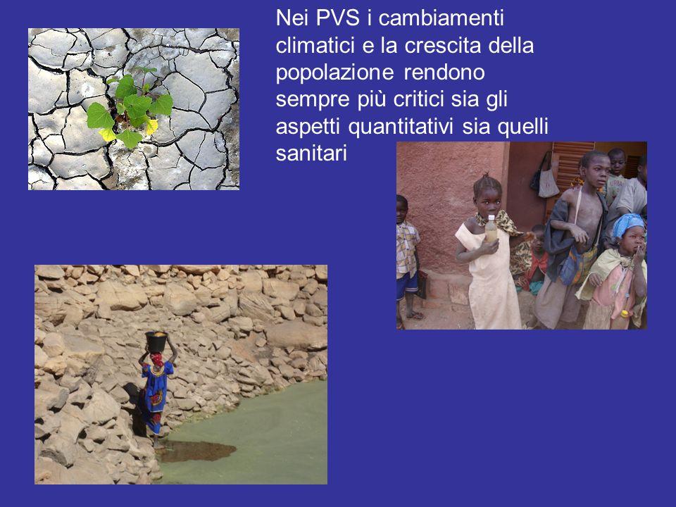 Nei PVS i cambiamenti climatici e la crescita della popolazione rendono sempre più critici sia gli aspetti quantitativi sia quelli sanitari