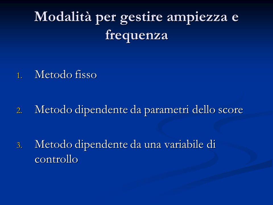 Modalità per gestire ampiezza e frequenza 1. Metodo fisso 2. Metodo dipendente da parametri dello score 3. Metodo dipendente da una variabile di contr