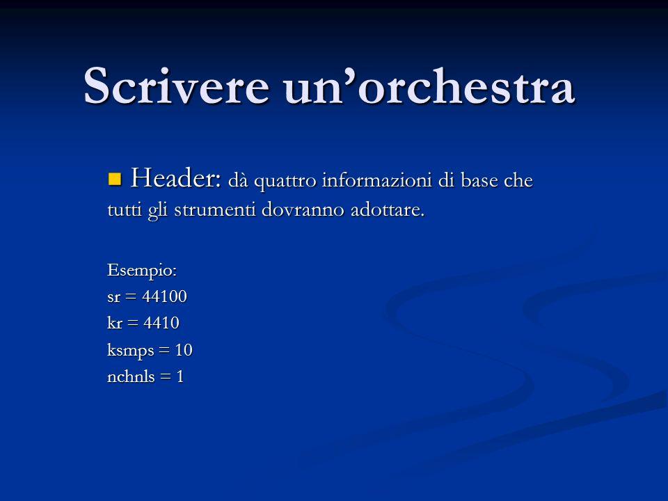Scrivere unorchestra Header: dà quattro informazioni di base che tutti gli strumenti dovranno adottare.