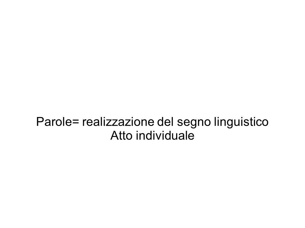 Parole= realizzazione del segno linguistico Atto individuale