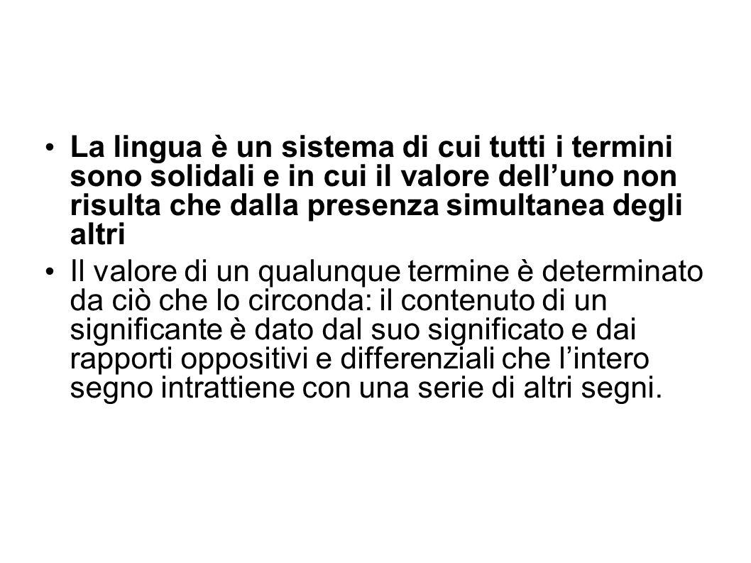 La lingua è un sistema di cui tutti i termini sono solidali e in cui il valore delluno non risulta che dalla presenza simultanea degli altri Il valore