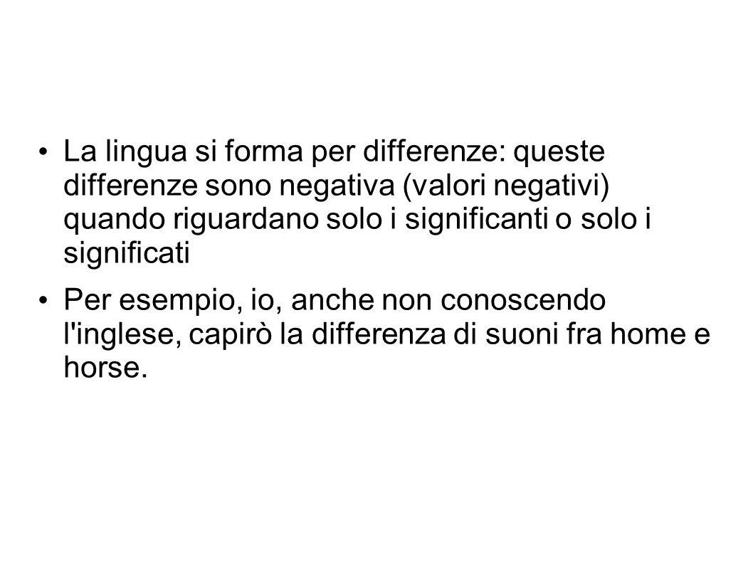 La lingua si forma per differenze: queste differenze sono negativa (valori negativi) quando riguardano solo i significanti o solo i significati Per es