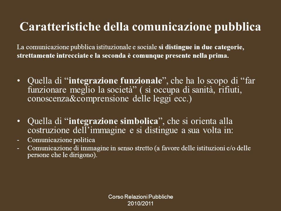 Corso Relazioni Pubbliche 2010/2011 Le relazioni con le istituzioni (lobby)