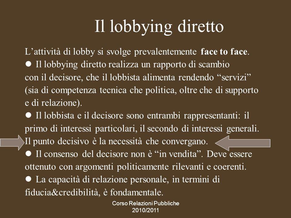 Corso Relazioni Pubbliche 2010/2011 Il grass-root lobbying Riguarda specificamente linfluenza sui processi legislativi, realizzata attraverso una mobilitazione civile dal basso.